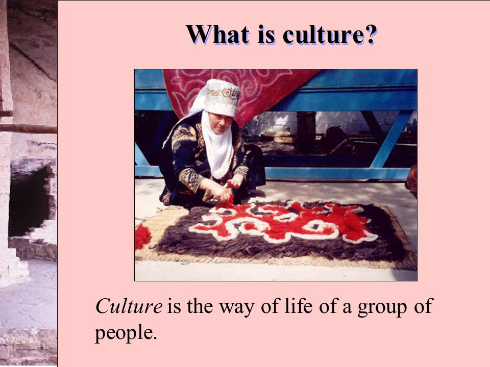 What is culture? Culture is the way of life of a group of people.