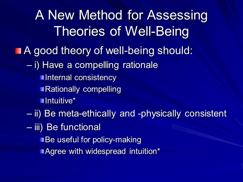 A New Method for Assessing Theories of Well-Being A good theory of well-being should: –i) Have a compelling rationale Internal consistency Rationally