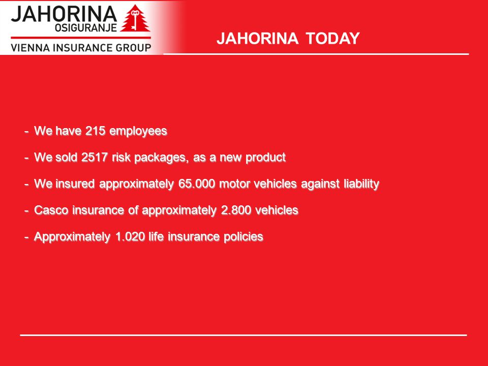JAHORINA TODAY -We have 215 employees -We sold 2517 risk packages, as a new product -We insured approximately 65.000 motor vehicles against liability -Casco insurance of approximately 2.800 vehicles -Approximately 1.020 life insurance policies