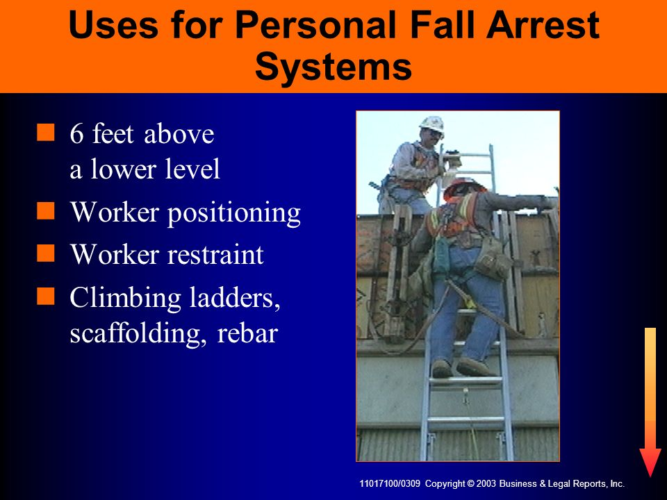 11017100/0309 Copyright © 2003 Business & Legal Reports, Inc. Uses for Personal Fall Arrest Systems 6 feet above a lower level Worker positioning Work