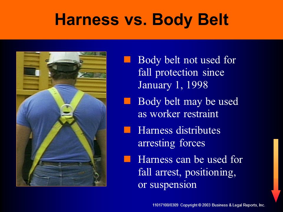 11017100/0309 Copyright © 2003 Business & Legal Reports, Inc. Harness vs. Body Belt Body belt not used for fall protection since January 1, 1998 Body