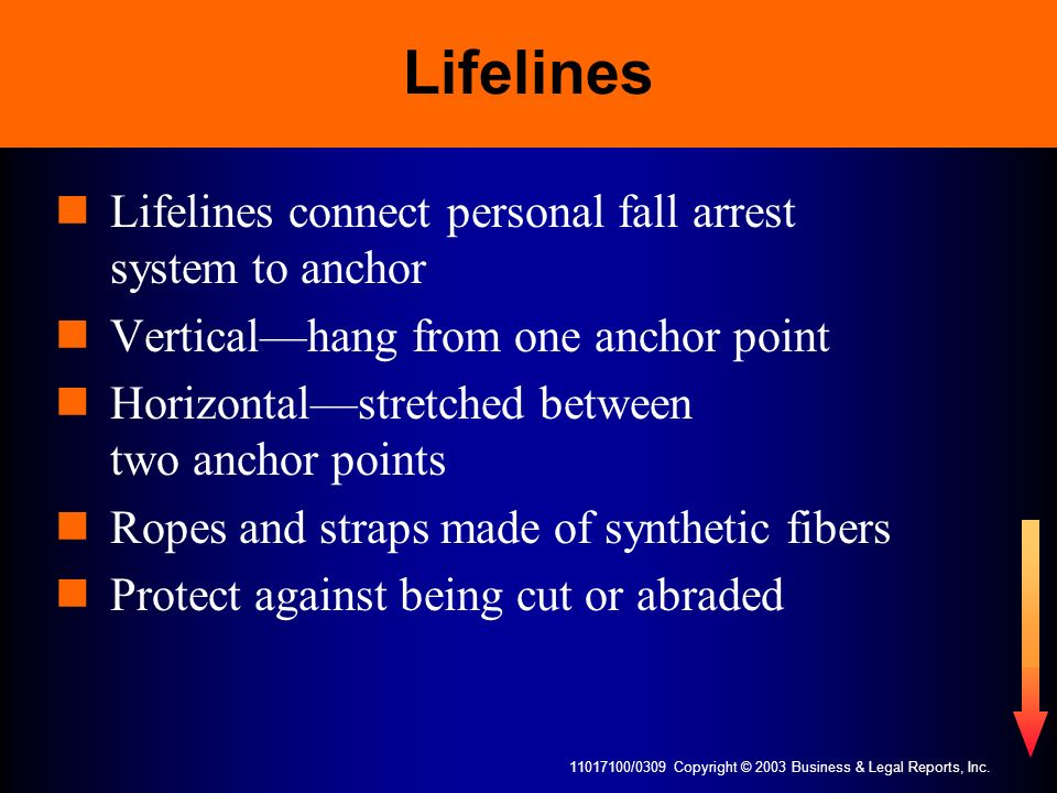 11017100/0309 Copyright © 2003 Business & Legal Reports, Inc. Lifelines Lifelines connect personal fall arrest system to anchor Verticalhang from one