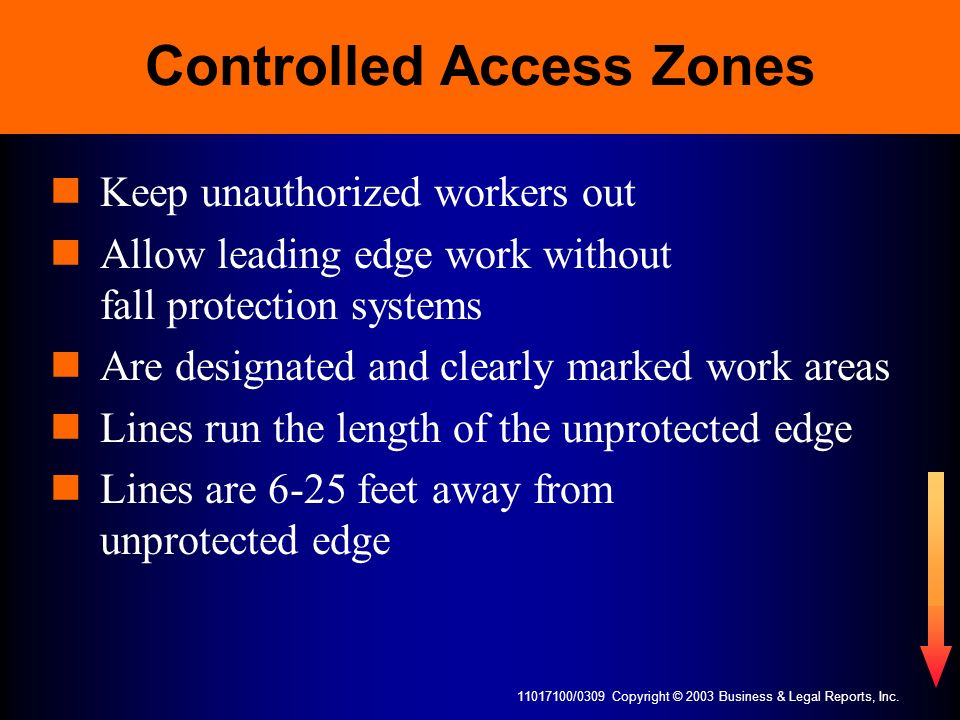 11017100/0309 Copyright © 2003 Business & Legal Reports, Inc. Controlled Access Zones Keep unauthorized workers out Allow leading edge work without fa