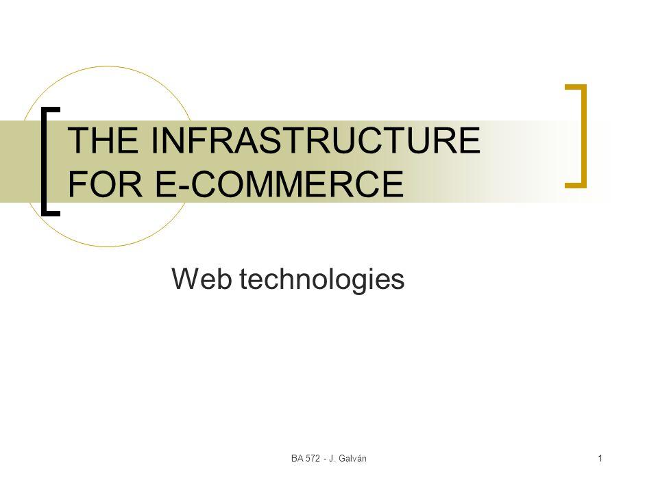 BA 572 - J. Galván1 THE INFRASTRUCTURE FOR E-COMMERCE Web technologies