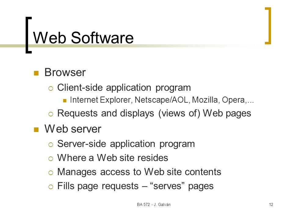 BA 572 - J. Galván12 Web Software Browser Client-side application program Internet Explorer, Netscape/AOL, Mozilla, Opera,... Requests and displays (v