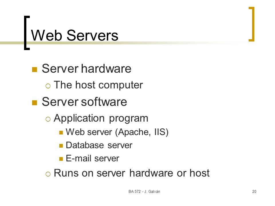 BA 572 - J. Galván20 Web Servers Server hardware The host computer Server software Application program Web server (Apache, IIS) Database server E-mail