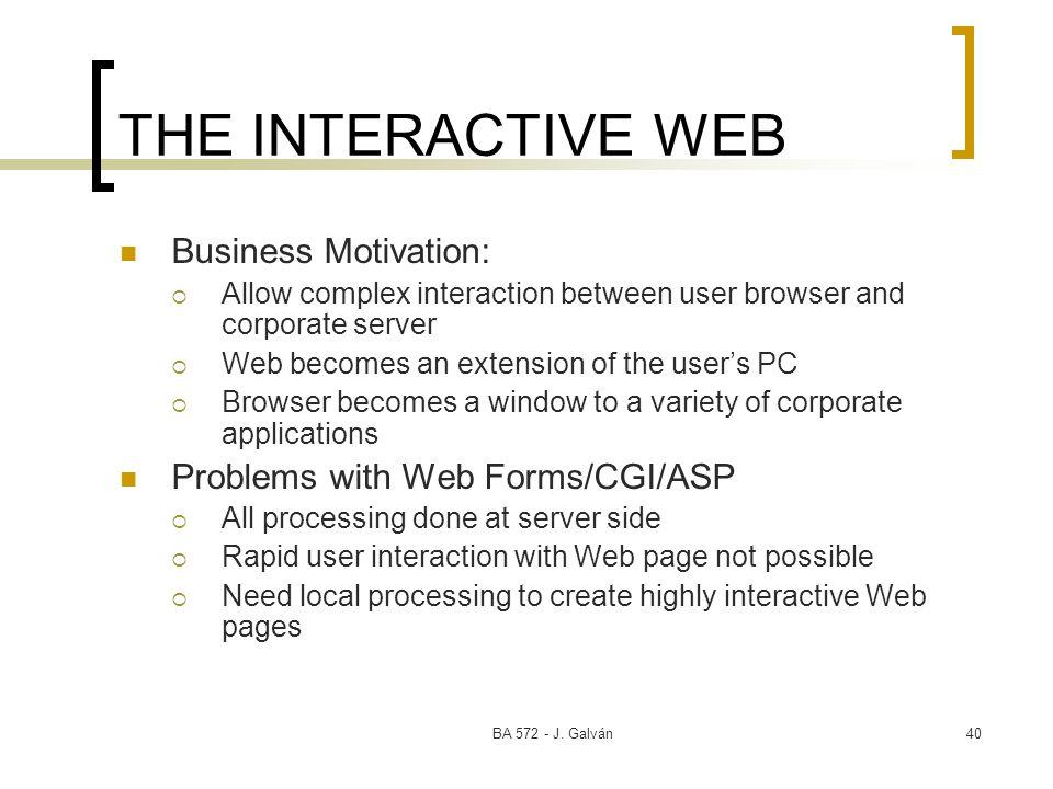 BA 572 - J. Galván40 THE INTERACTIVE WEB Business Motivation: Allow complex interaction between user browser and corporate server Web becomes an exten
