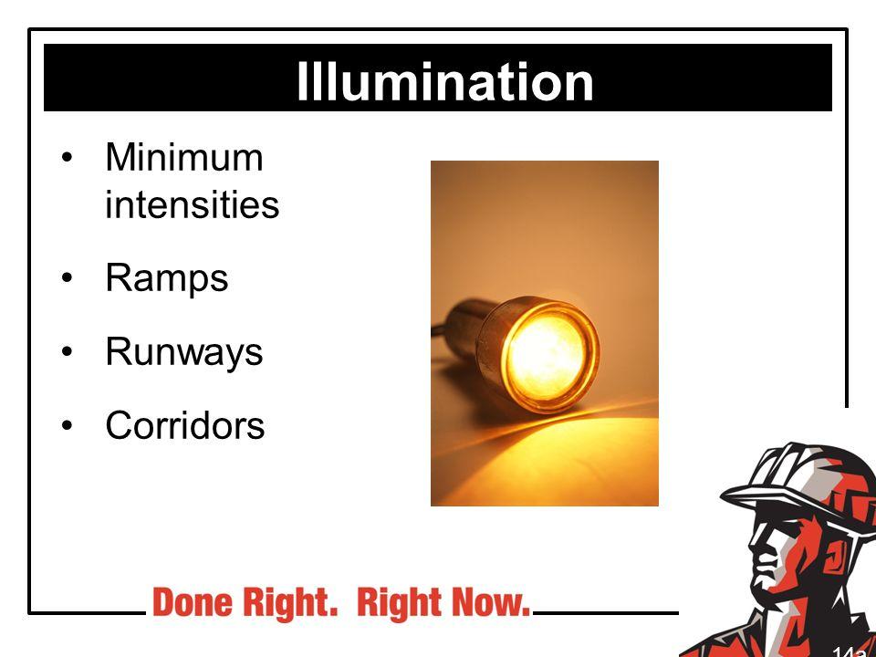 Illumination Minimum intensities Ramps Runways Corridors 14a