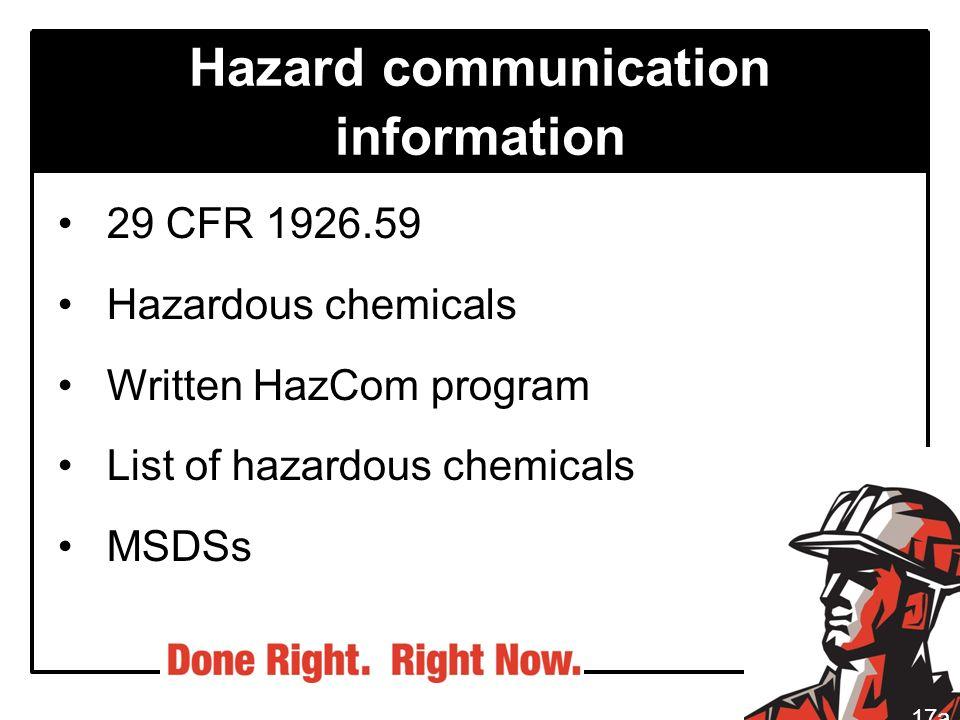 Hazard communication information 29 CFR 1926.59 Hazardous chemicals Written HazCom program List of hazardous chemicals MSDSs 17a