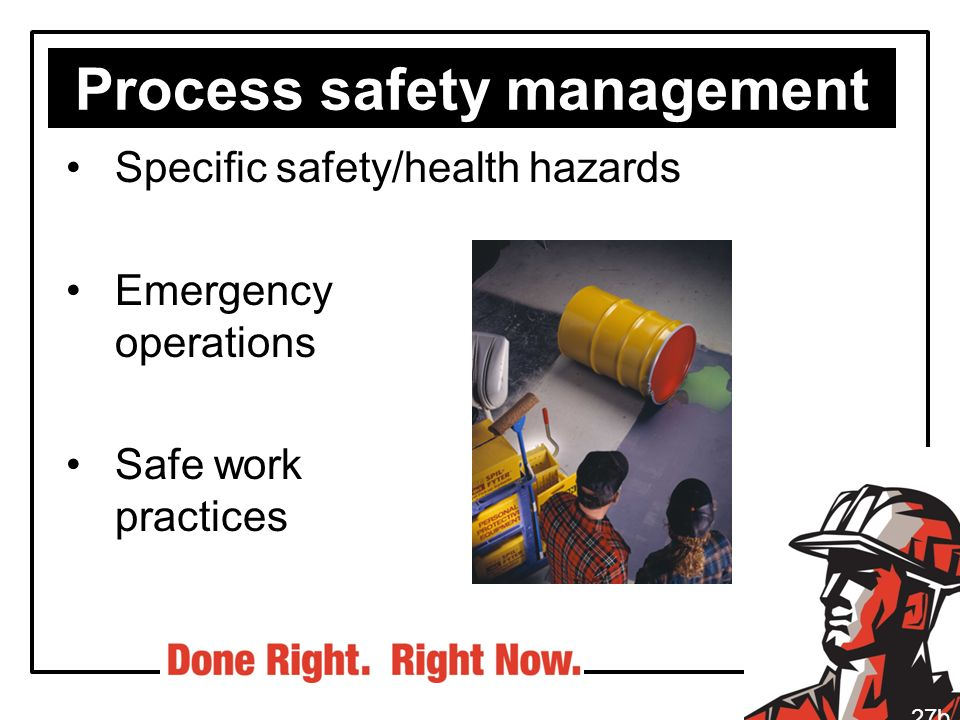 Process safety management Specific safety/health hazards Emergency operations Safe work practices 27b