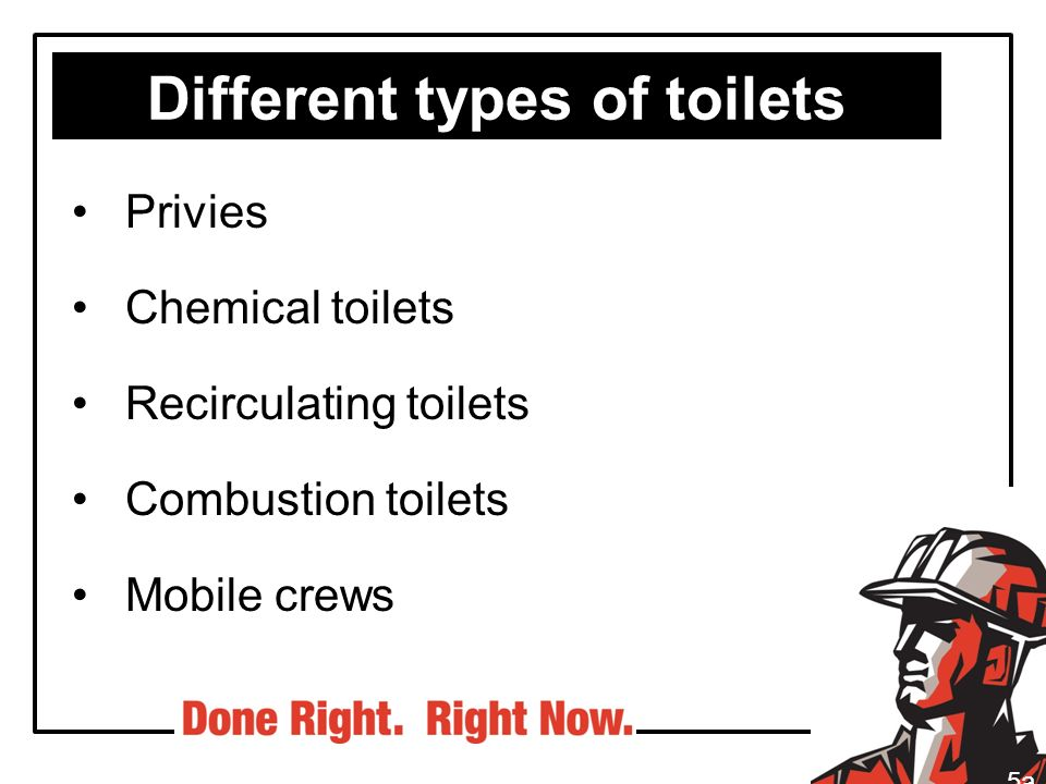Different types of toilets Privies Chemical toilets Recirculating toilets Combustion toilets Mobile crews 5a