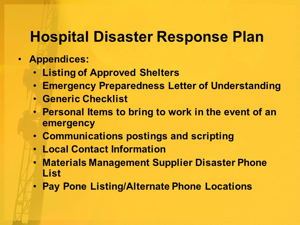 Hospital Disaster Response Plan Appendices: Listing of Approved Shelters Emergency Preparedness Letter of Understanding Generic Checklist Personal Items to bring to work in the event of an emergency Communications postings and scripting Local Contact Information Materials Management Supplier Disaster Phone List Pay Pone Listing/Alternate Phone Locations