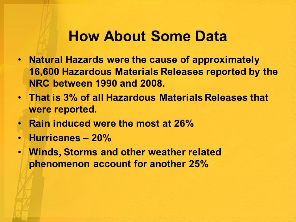 How About Some Data Natural Hazards were the cause of approximately 16,600 Hazardous Materials Releases reported by the NRC between 1990 and 2008.