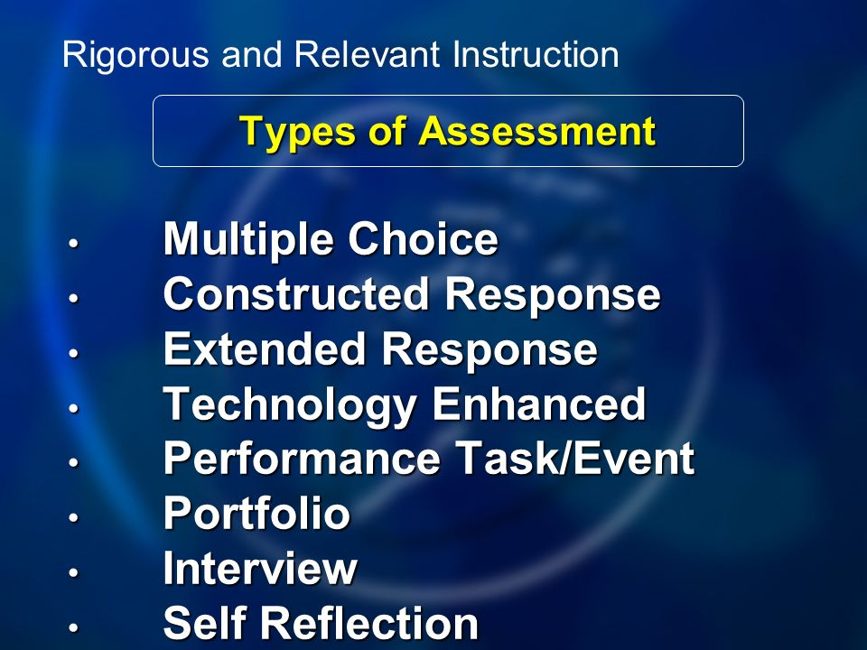 Types of Assessment Multiple Choice Multiple Choice Constructed Response Constructed Response Extended Response Extended Response Technology Enhanced Technology Enhanced Performance Task/Event Performance Task/Event Portfolio Portfolio Interview Interview Self Reflection Self Reflection Rigorous and Relevant Instruction