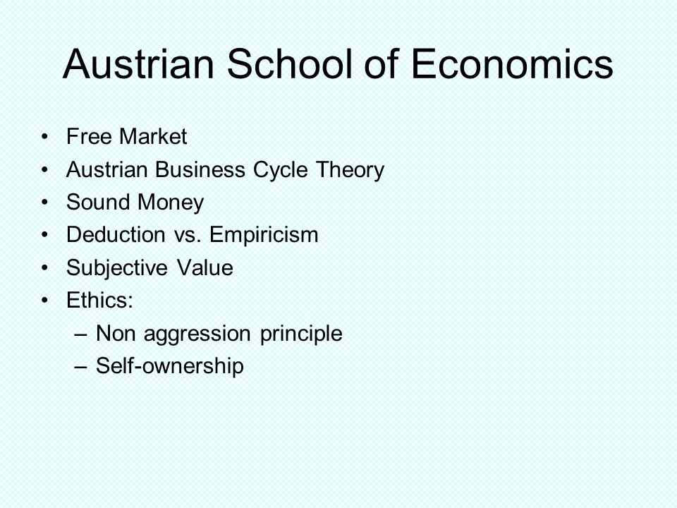 Austrian School of Economics Free Market Austrian Business Cycle Theory Sound Money Deduction vs.