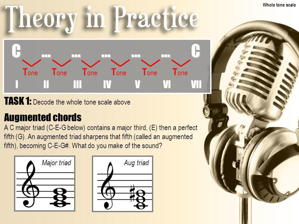 TASK 1: Decode the whole tone scale above C……………CC……………CC……………CC……………C T one T one T one I II III IV V VI VII Augmented chords A C major triad (C-E-G