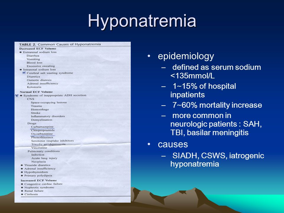 Hyponatremia epidemiology – defined as serum sodium <135mmol/L – 1~15% of hospital inpatients – 7~60% mortality increase – more common in neurologic patients : SAH, TBI, basilar meningitis causes – SIADH, CSWS, iatrogenic hyponatremia