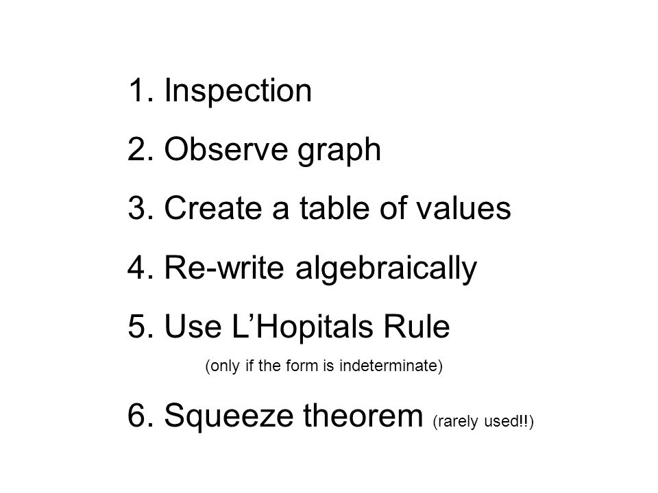 1. Inspection 2. Observe graph 3. Create a table of values 4.