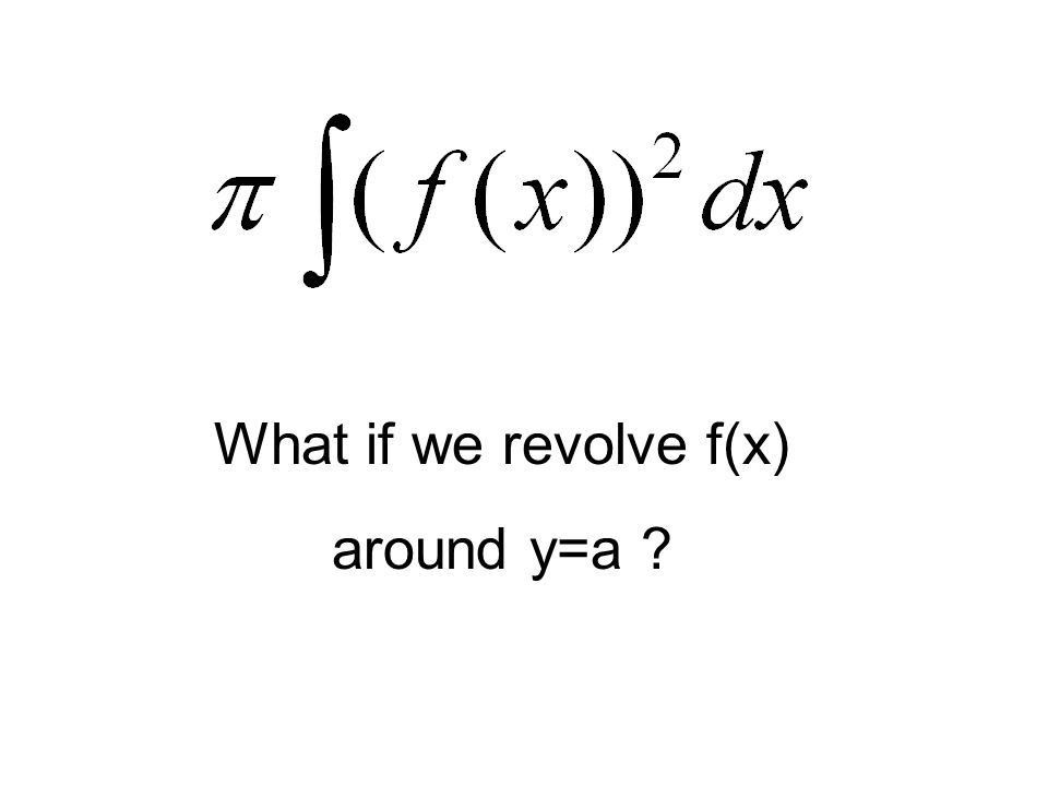 What if we revolve f(x) around y=a
