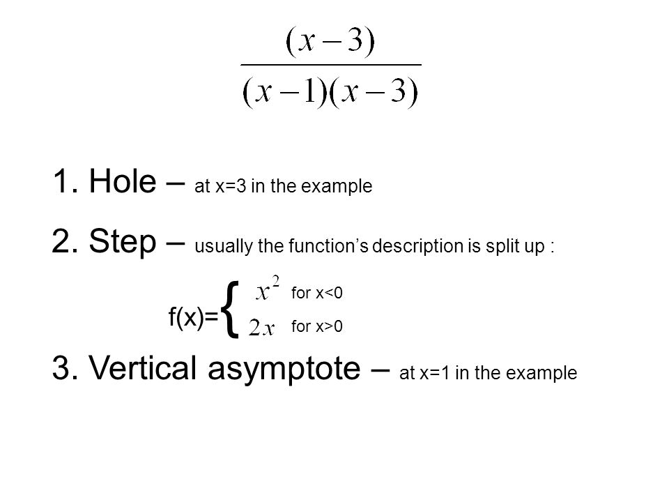 1. Hole – at x=3 in the example 2. Step – usually the functions description is split up : 3.