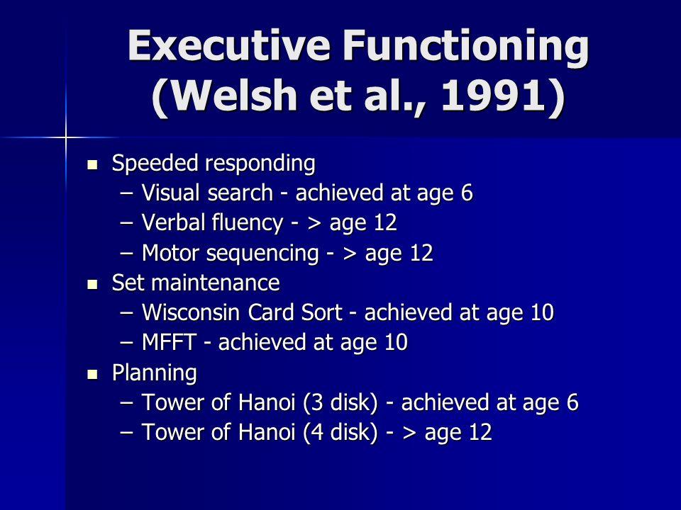 Executive Functioning (Welsh et al., 1991) Speeded responding Speeded responding –Visual search - achieved at age 6 –Verbal fluency - > age 12 –Motor