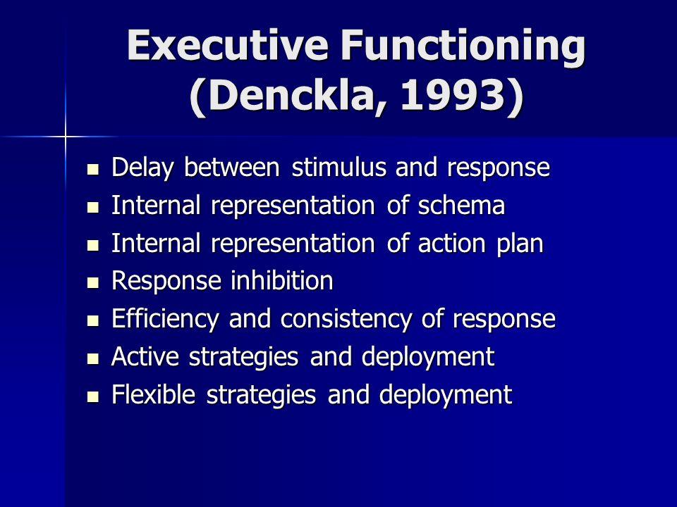 Executive Functioning (Denckla, 1993) Delay between stimulus and response Delay between stimulus and response Internal representation of schema Intern