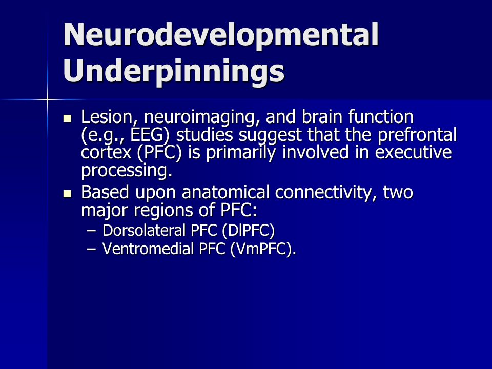 Lesion, neuroimaging, and brain function (e.g., EEG) studies suggest that the prefrontal cortex (PFC) is primarily involved in executive processing. L