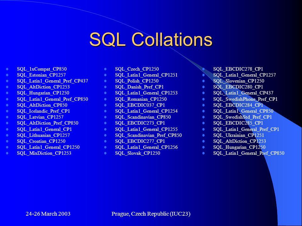 24-26 March 2003Prague, Czech Republic (IUC23) SQL Collations SQL_1xCompat_CP850 SQL_Estonian_CP1257 SQL_Latin1_General_Pref_CP437 SQL_AltDiction_CP12