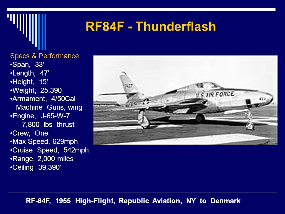 Specs & Performance Span, 33 Length, 47 Height, 15 Weight, 25,390 Armament, 4/50Cal Machine Guns, wing Engine, J-65-W-7 7,800 lbs thrust Crew, One Max