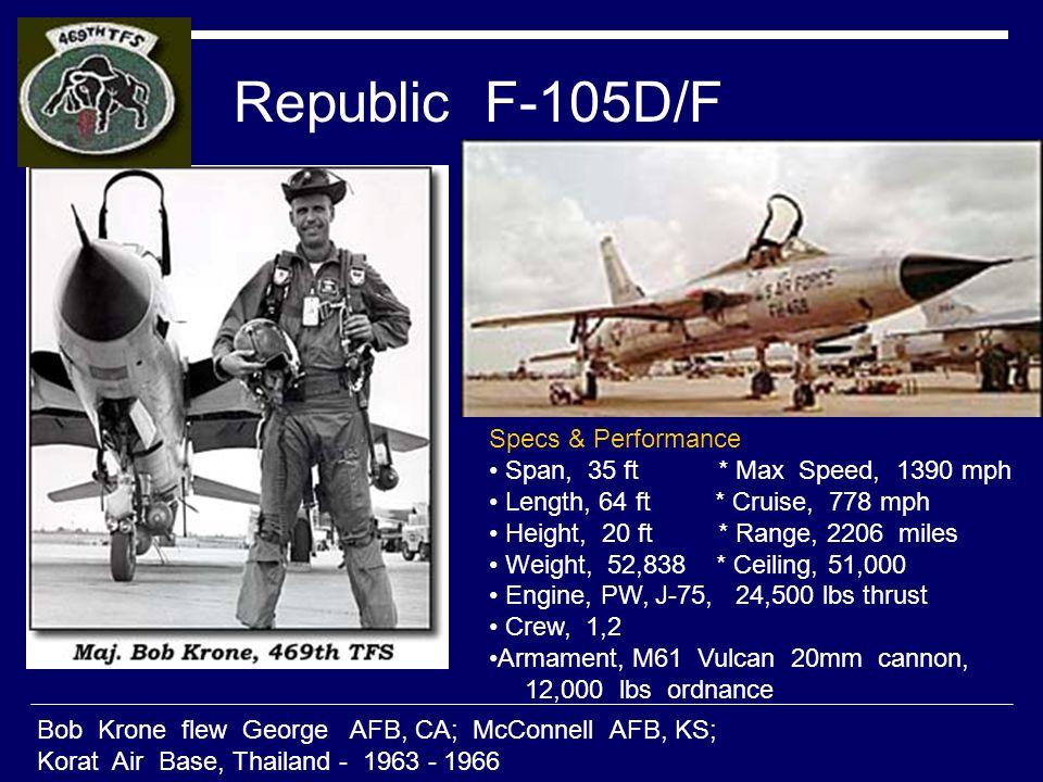 Republic F-105D/F Bob Krone flew George AFB, CA; McConnell AFB, KS; Korat Air Base, Thailand - 1963 - 1966 Specs & Performance Span, 35 ft * Max Speed