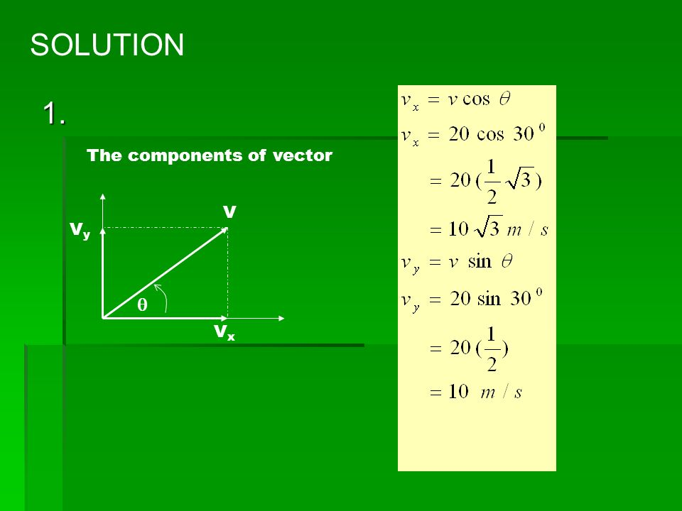 SAMPLE PROBLEM 1. A vector of velocity (V) forms an angle 30 0 with positive X axis and the magnitude is 20 m/s. determine the magnitude of vector com