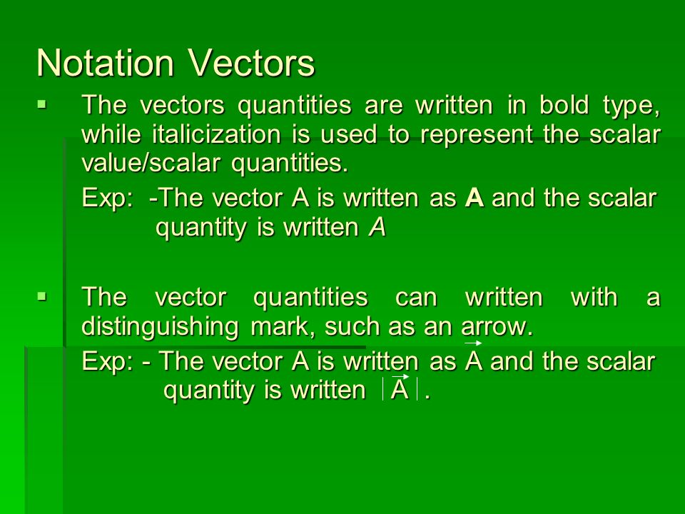 Vectors Quantities and Scalar Quantities Vector Quantities are physical quantities which have a magnitude or value and direction Vector Quantities are physical quantities which have a magnitude or value and direction Example : velocity, acceleration, Force, etc Scalar quantities are physical quantities which have magnitude or value without direction Scalar quantities are physical quantities which have magnitude or value without direction Example : Mass, Time, Temperature, volume, etc