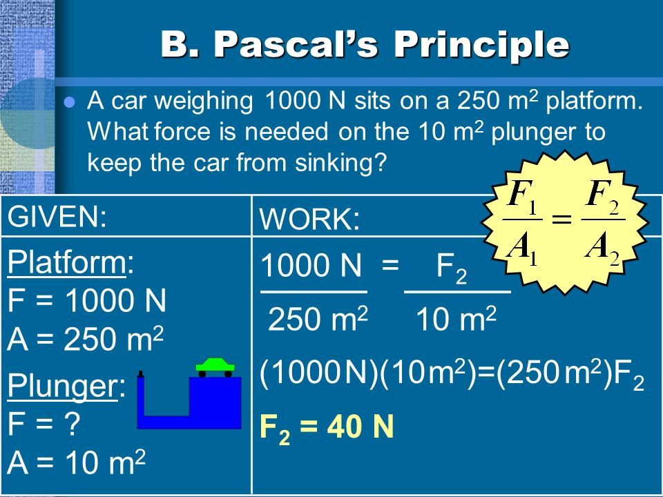 B. Pascals Principle A car weighing 1000 N sits on a 250 m 2 platform. What force is needed on the 10 m 2 plunger to keep the car from sinking? GIVEN: