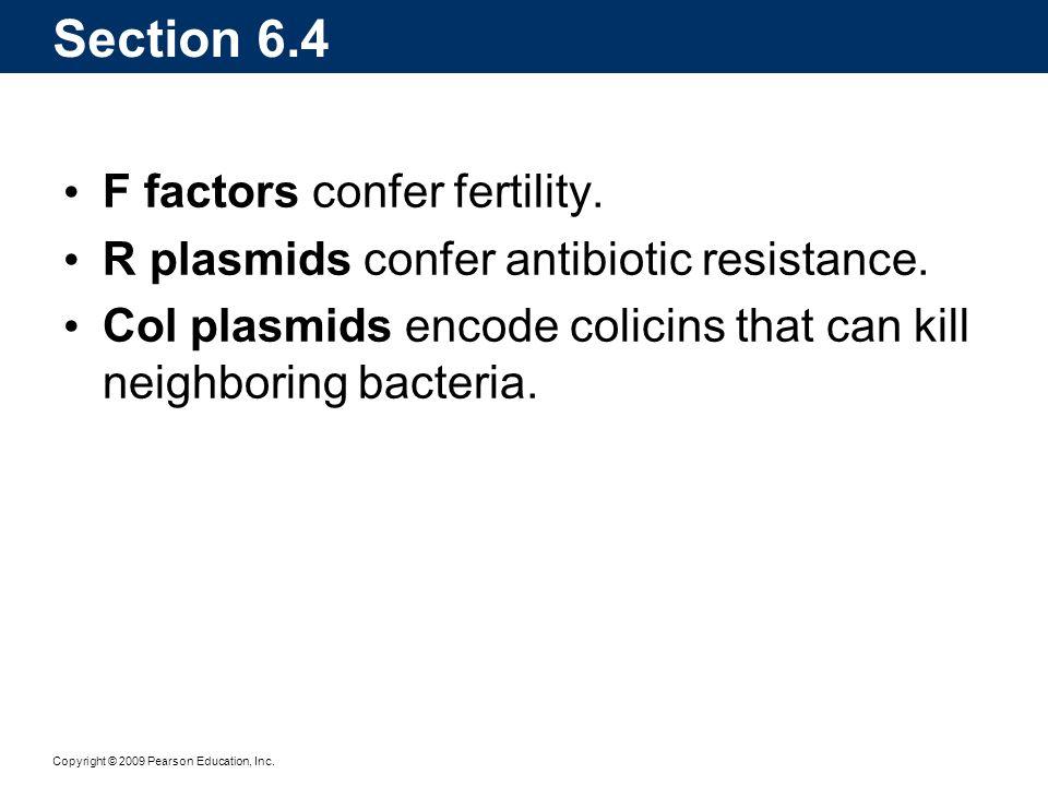 Copyright © 2009 Pearson Education, Inc. Section 6.4 F factors confer fertility. R plasmids confer antibiotic resistance. Col plasmids encode colicins