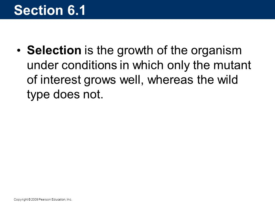 Copyright © 2009 Pearson Education, Inc. Section 6.1 Selection is the growth of the organism under conditions in which only the mutant of interest gro