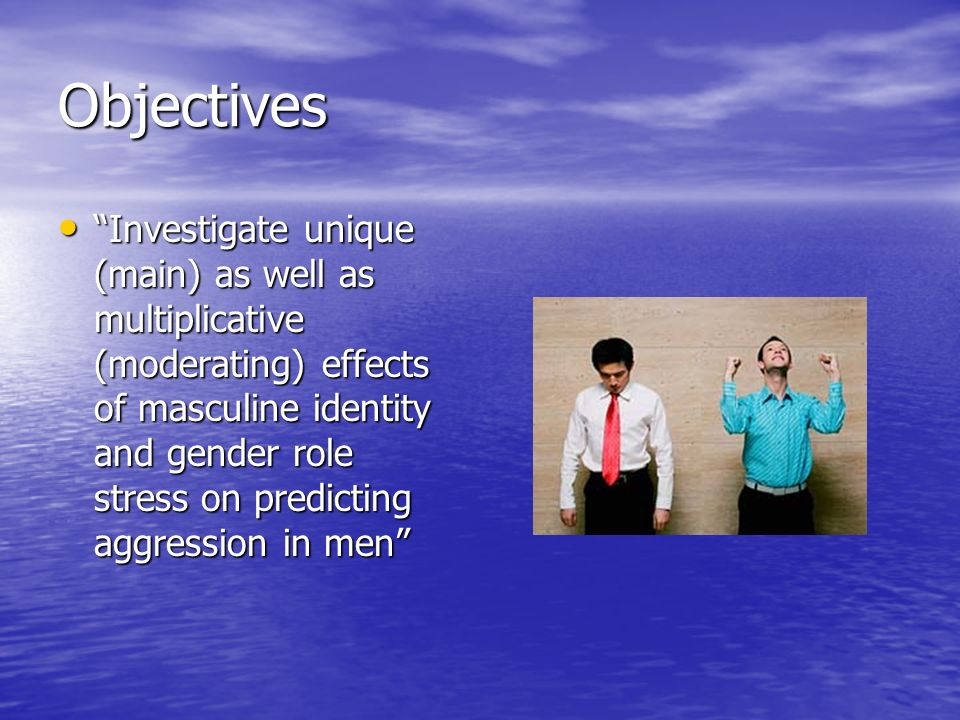 Objectives Investigate unique (main) as well as multiplicative (moderating) effects of masculine identity and gender role stress on predicting aggress
