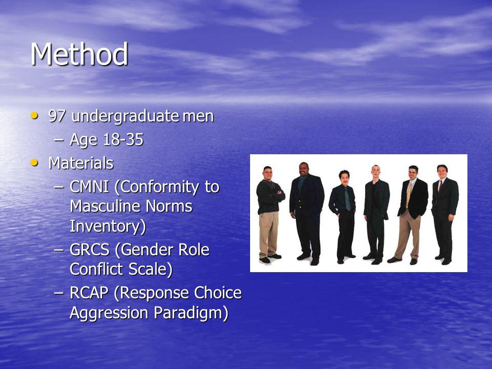Method 97 undergraduate men 97 undergraduate men –Age 18-35 Materials Materials –CMNI (Conformity to Masculine Norms Inventory) –GRCS (Gender Role Con
