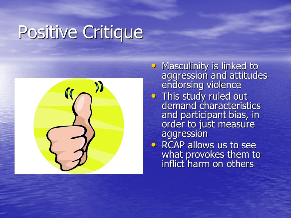 Negative Critique Does not determine causality only moderating effects Does not determine causality only moderating effects Only two of seven interactions were found to be significant Only two of seven interactions were found to be significant Lack of diversity in: Lack of diversity in: –Ethnicity –Age –Relationship Status