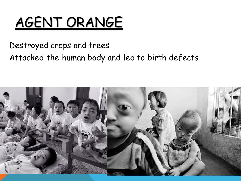 AGENT ORANGE Destroyed crops and trees Attacked the human body and led to birth defects