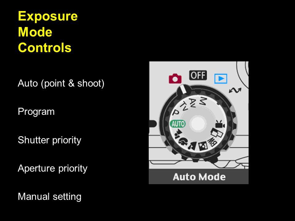 Exposure Mode Controls Auto (point & shoot) Program Shutter priority Aperture priority Manual setting
