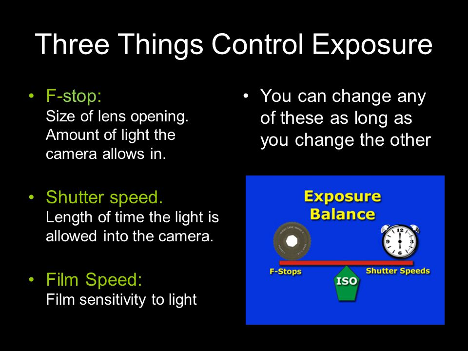 Three Things Control Exposure F-stop: Size of lens opening. Amount of light the camera allows in. Shutter speed. Length of time the light is allowed i