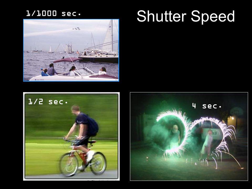 Shutter Speed 1/1000 sec. 1/2 sec. 4 sec.
