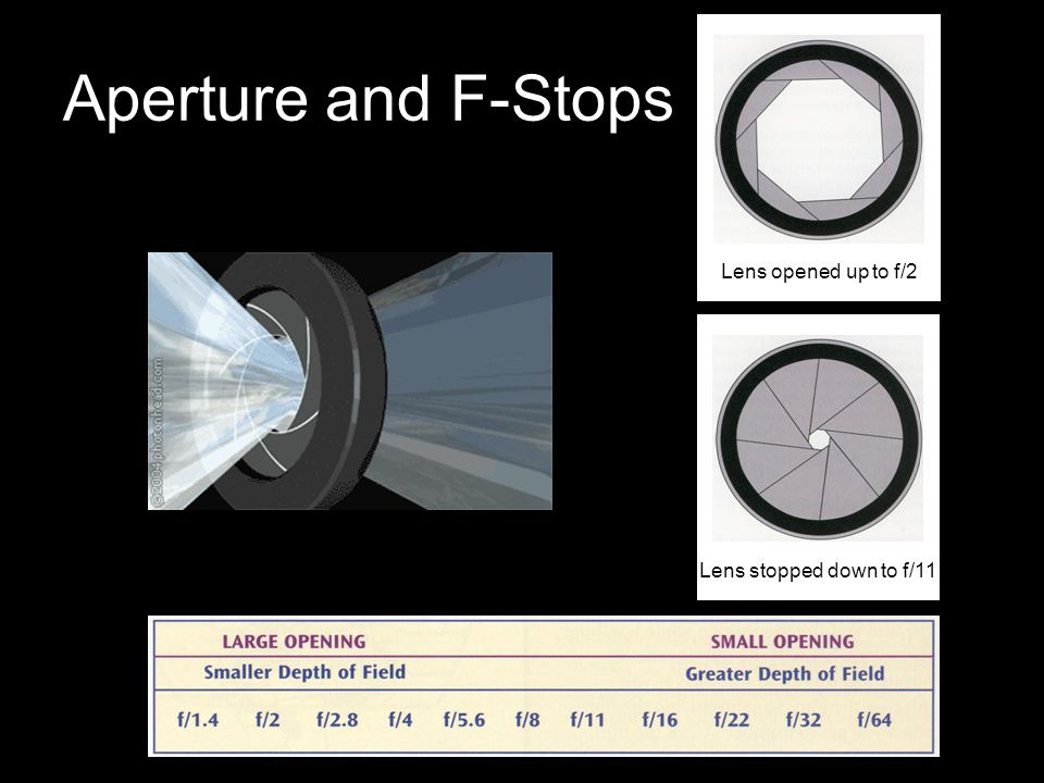 F-Stop A numerical representation of the diameter of a lens aperture.