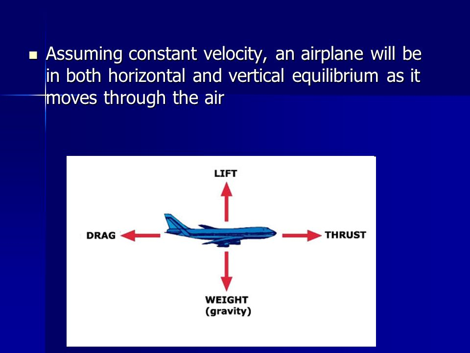 Assuming constant velocity, an airplane will be in both horizontal and vertical equilibrium as it moves through the air Assuming constant velocity, an
