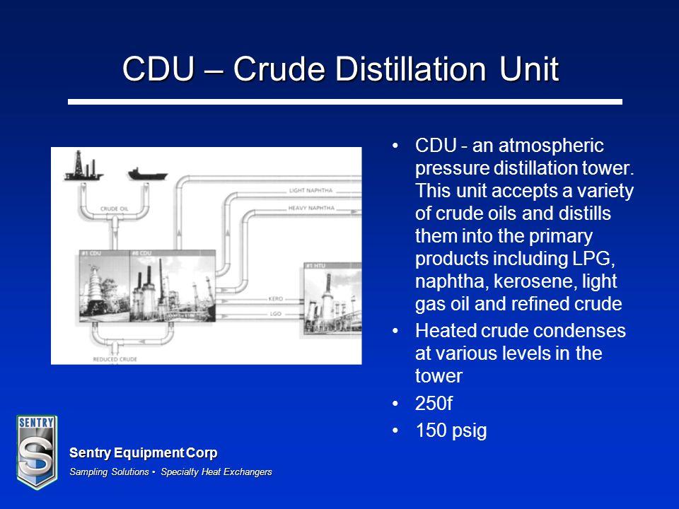 Sentry Equipment Corp Sampling Solutions Specialty Heat Exchangers CDU – Crude Distillation Unit CDU - an atmospheric pressure distillation tower. Thi
