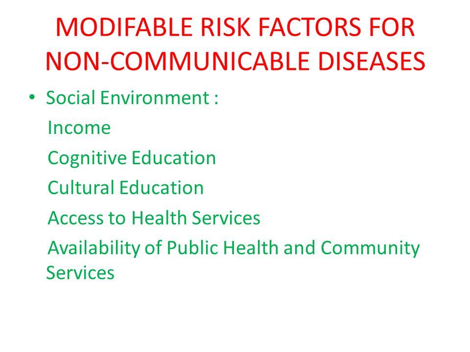 MODIFABLE RISK FACTORS FOR NON-COMMUNICABLE DISEASES Social Environment : Income Cognitive Education Cultural Education Access to Health Services Avai