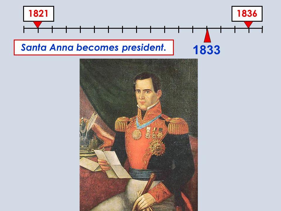 18361821 1833 Santa Anna becomes president.