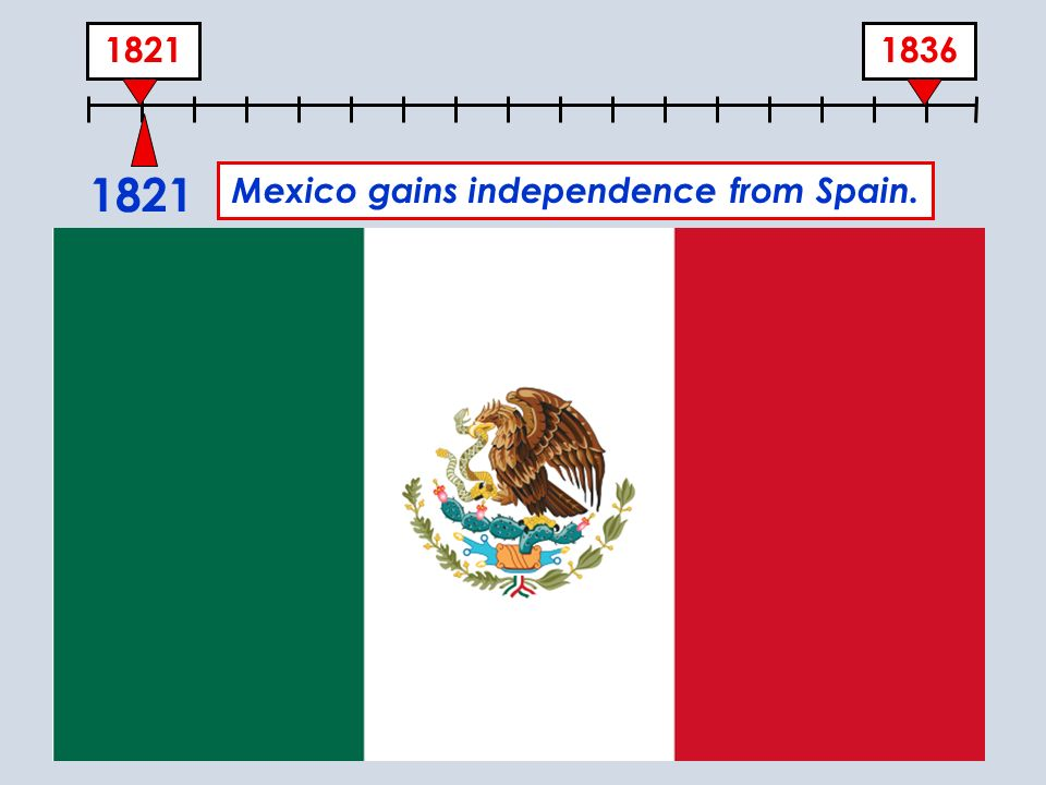 18361821 Mexico gains independence from Spain.