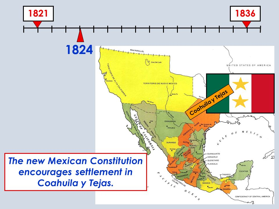 18361821 1824 The new Mexican Constitution encourages settlement in Coahuila y Tejas. Coahuila y Tejas