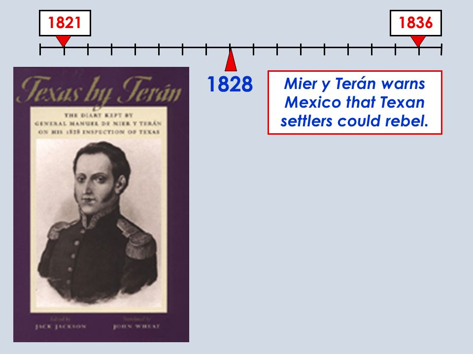 18361821 1828 Mier y Terán warns Mexico that Texan settlers could rebel.